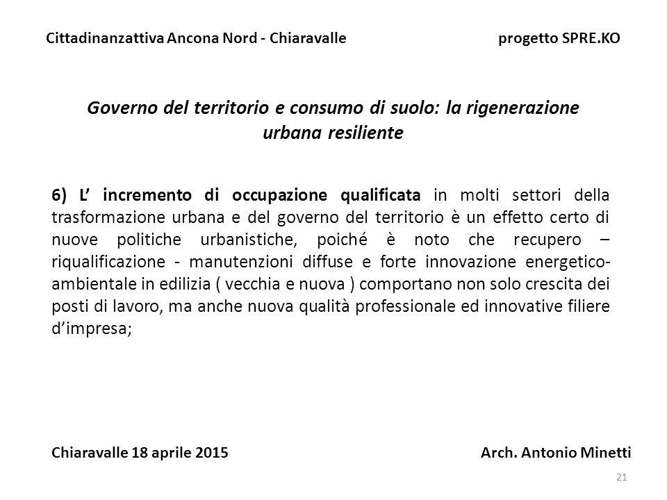 21 Governo del territorio e consumo di suolo: la rigenerazione urbana resiliente Cittadinanzattiva Ancona Nord - Chiaravalle progetto SPRE.KO Chiaravalle 18 aprile 2015 Arch.