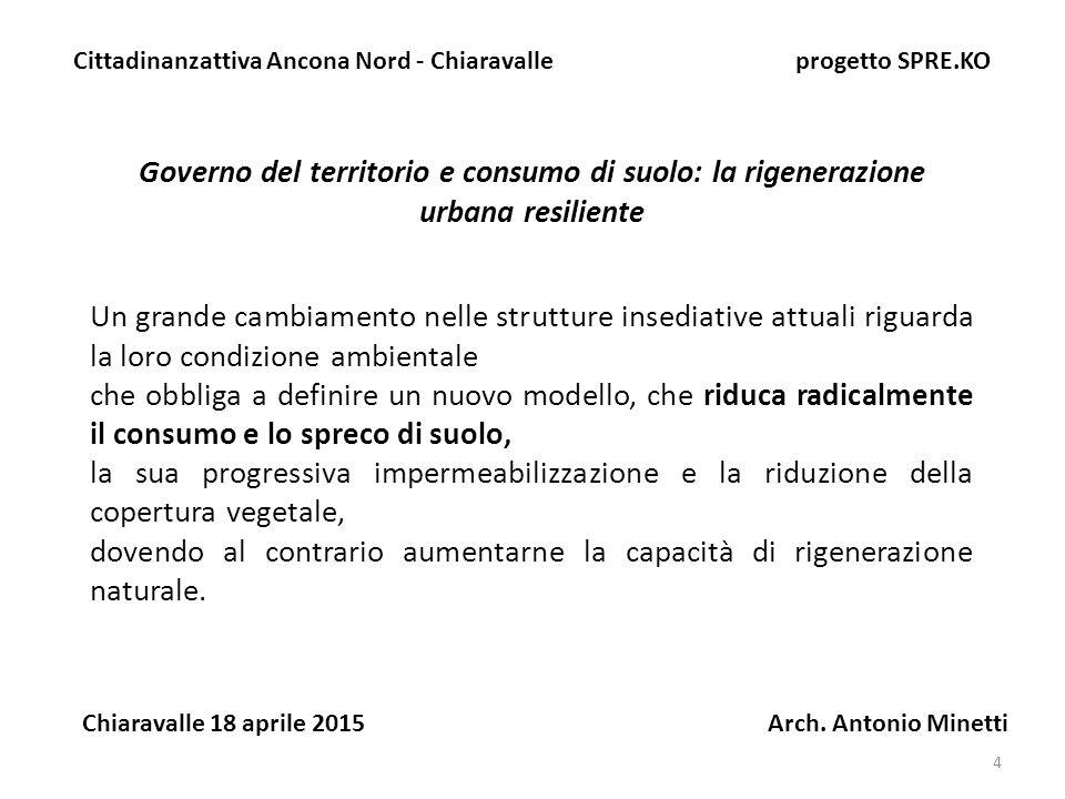 4 Governo del territorio e consumo di suolo: la rigenerazione urbana resiliente Cittadinanzattiva Ancona Nord - Chiaravalle progetto SPRE.KO Chiaravalle 18 aprile 2015 Arch.