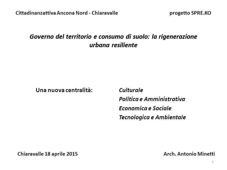 18 Governo del territorio e consumo di suolo: la rigenerazione urbana resiliente Cittadinanzattiva Ancona Nord - Chiaravalle progetto SPRE.KO Chiaravalle 18 aprile 2015 Arch.