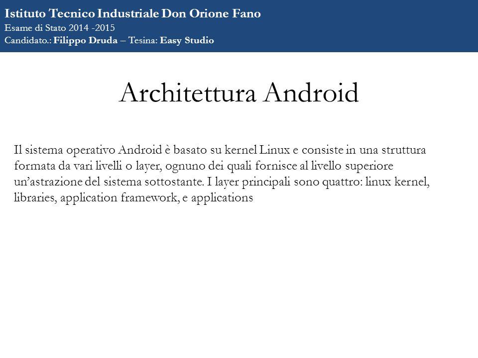 Architettura Android Il sistema operativo Android è basato su kernel Linux e consiste in una struttura formata da vari livelli o layer, ognuno dei quali fornisce al livello superiore un'astrazione del sistema sottostante.