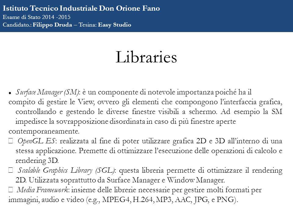 Libraries Surface Manager (SM): è un componente di notevole importanza poiché ha il compito di gestire le View, ovvero gli elementi che compongono l'interfaccia grafica, controllando e gestendo le diverse finestre visibili a schermo.