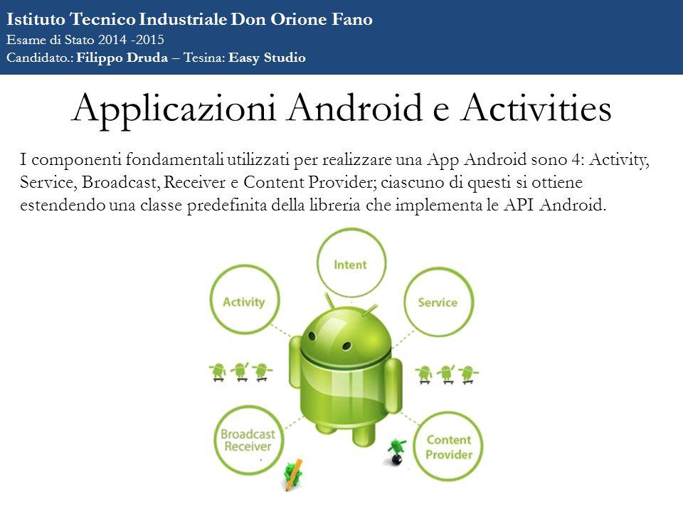 Applicazioni Android e Activities I componenti fondamentali utilizzati per realizzare una App Android sono 4: Activity, Service, Broadcast, Receiver e Content Provider; ciascuno di questi si ottiene estendendo una classe predefinita della libreria che implementa le API Android.
