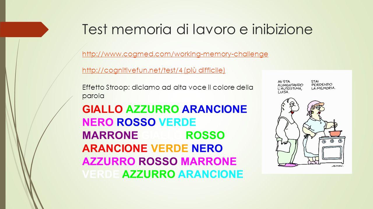 Test memoria di lavoro e inibizione http://www.cogmed.com/working-memory-challenge GIALLO AZZURRO ARANCIONE NERO ROSSO VERDE MARRONE GIALLO ROSSO ARAN