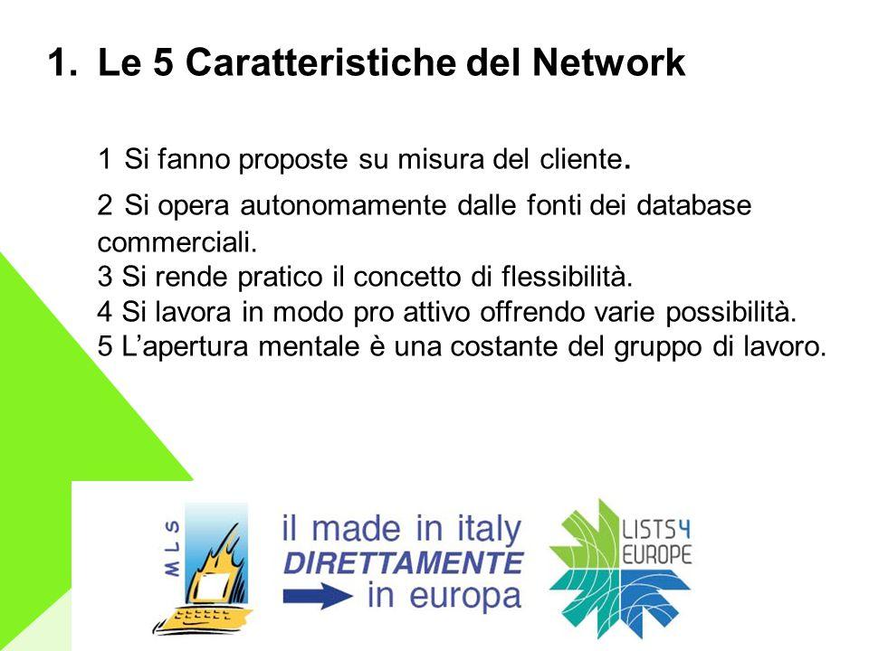 1.Le 5 Caratteristiche del Network 1 Si fanno proposte su misura del cliente.