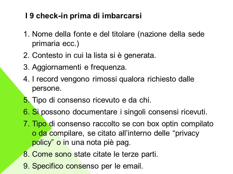 I 9 check-in prima di imbarcarsi 1.Nome della fonte e del titolare (nazione della sede primaria ecc.) 2.Contesto in cui la lista si è generata.