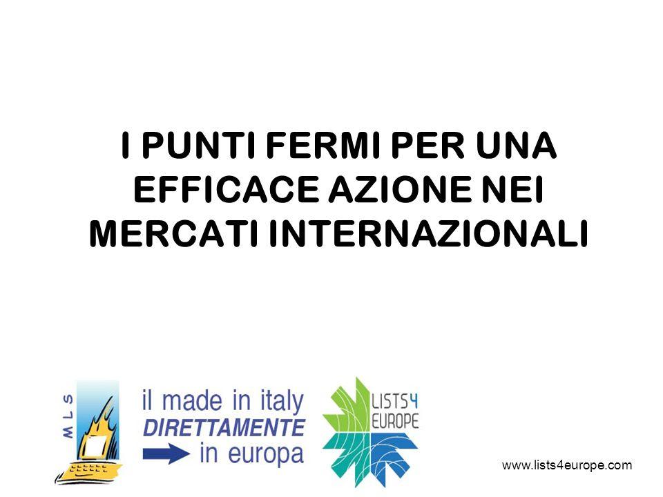 I PUNTI FERMI PER UNA EFFICACE AZIONE NEI MERCATI INTERNAZIONALI www.lists4europe.com