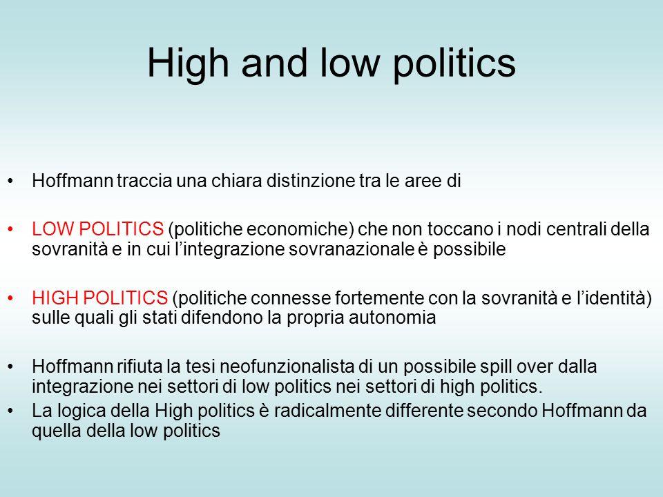 High and low politics Hoffmann traccia una chiara distinzione tra le aree di LOW POLITICS (politiche economiche) che non toccano i nodi centrali della sovranità e in cui l'integrazione sovranazionale è possibile HIGH POLITICS (politiche connesse fortemente con la sovranità e l'identità) sulle quali gli stati difendono la propria autonomia Hoffmann rifiuta la tesi neofunzionalista di un possibile spill over dalla integrazione nei settori di low politics nei settori di high politics.