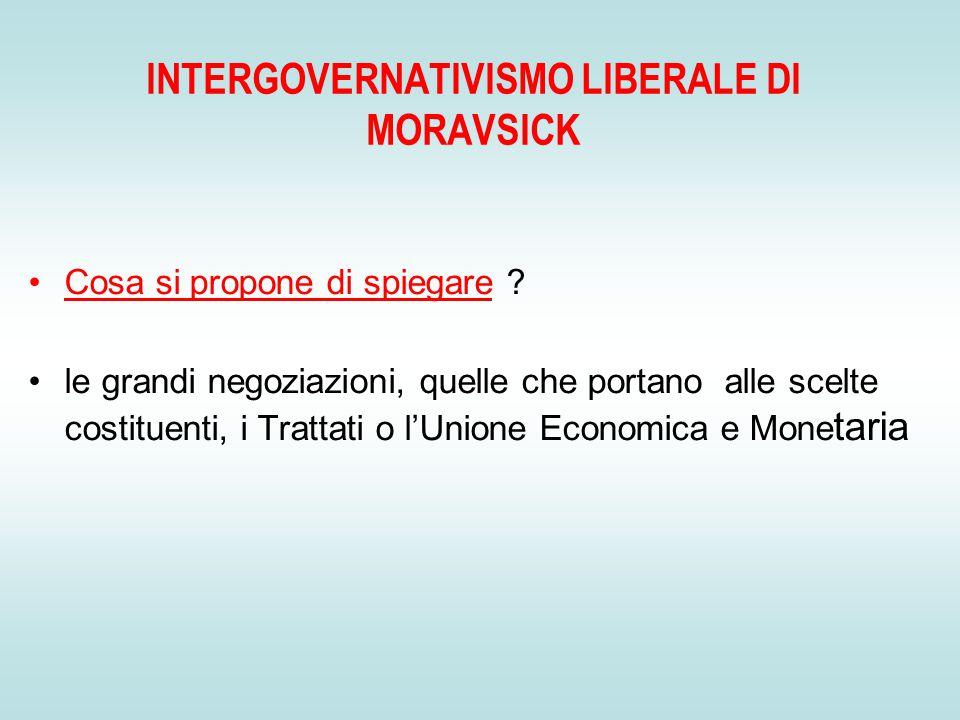 INTERGOVERNATIVISMO LIBERALE DI MORAVSICK Cosa si propone di spiegare .