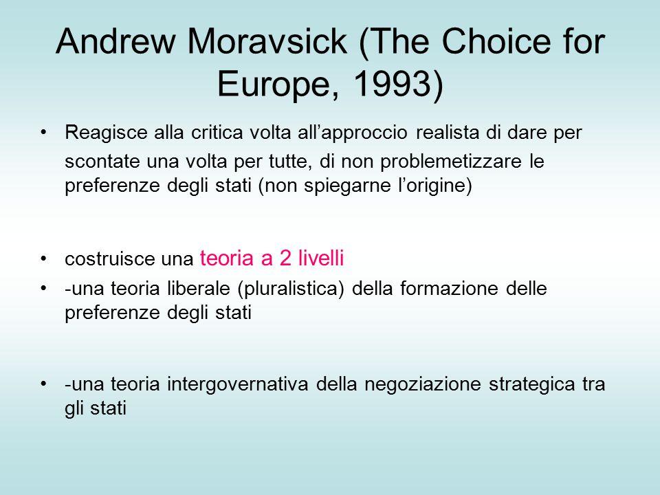 Andrew Moravsick (The Choice for Europe, 1993) Reagisce alla critica volta all'approccio realista di dare per scontate una volta per tutte, di non problemetizzare le preferenze degli stati (non spiegarne l'origine) costruisce una teoria a 2 livelli -una teoria liberale (pluralistica) della formazione delle preferenze degli stati -una teoria intergovernativa della negoziazione strategica tra gli stati
