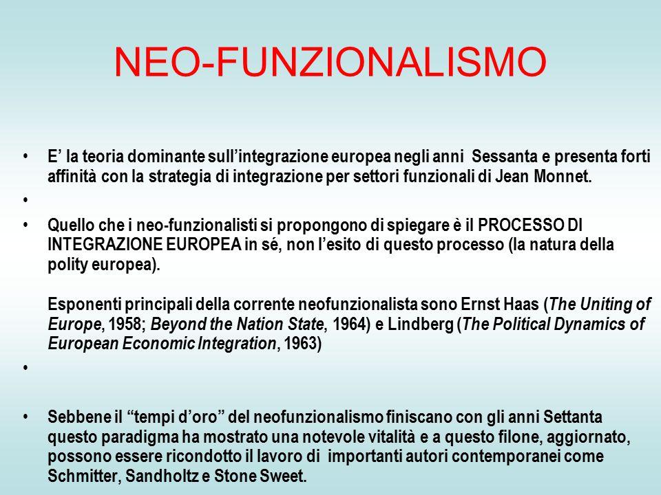 NEO-FUNZIONALISMO E' la teoria dominante sull'integrazione europea negli anni Sessanta e presenta forti affinità con la strategia di integrazione per settori funzionali di Jean Monnet.