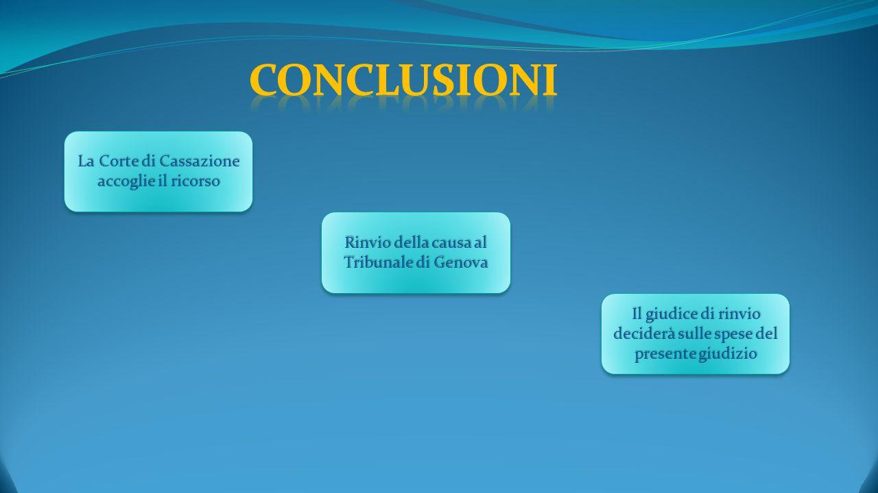 La Corte di Cassazione accoglie il ricorso Rinvio della causa al Tribunale di Genova Il giudice di rinvio deciderà sulle spese del presente giudizio