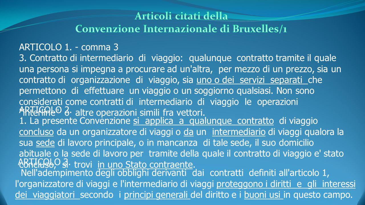 ARTICOLO 2. 1. La presente Convenzione si applica a qualunque contratto di viaggio concluso da un organizzatore di viaggi o da un intermediario di via