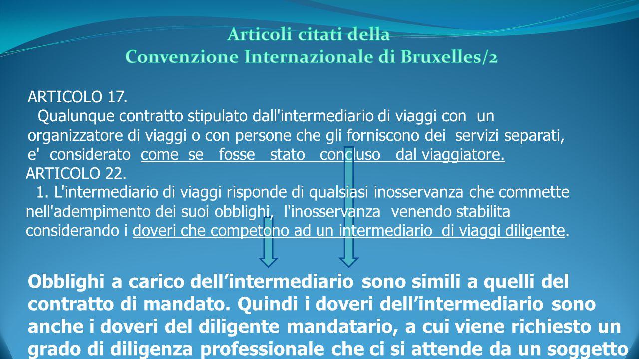 ARTICOLO 17. Qualunque contratto stipulato dall'intermediario di viaggi con un organizzatore di viaggi o con persone che gli forniscono dei servizi se