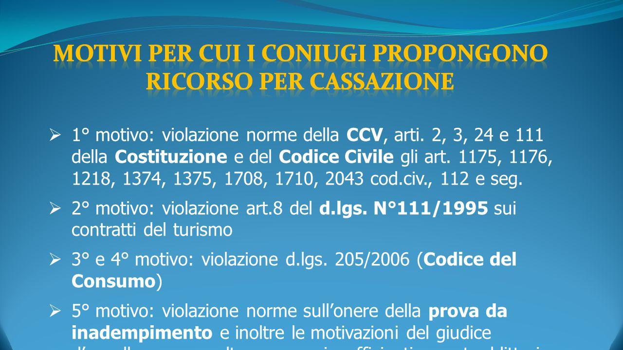  1° motivo: violazione norme della CCV, arti. 2, 3, 24 e 111 della Costituzione e del Codice Civile gli art. 1175, 1176, 1218, 1374, 1375, 1708, 1710