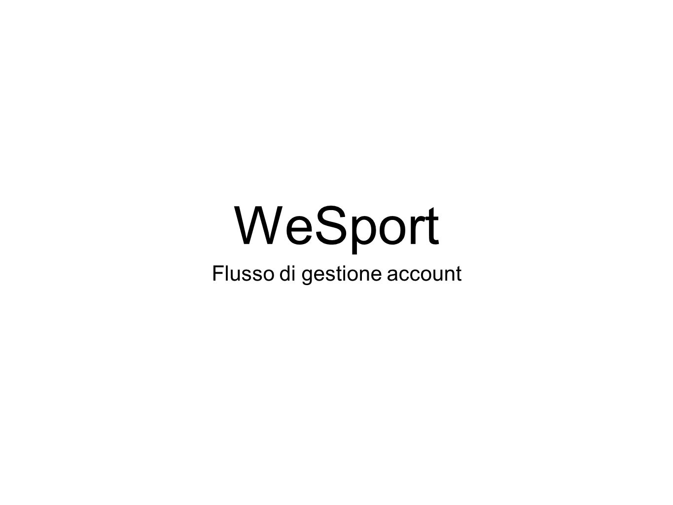 WeSport Flusso di gestione account