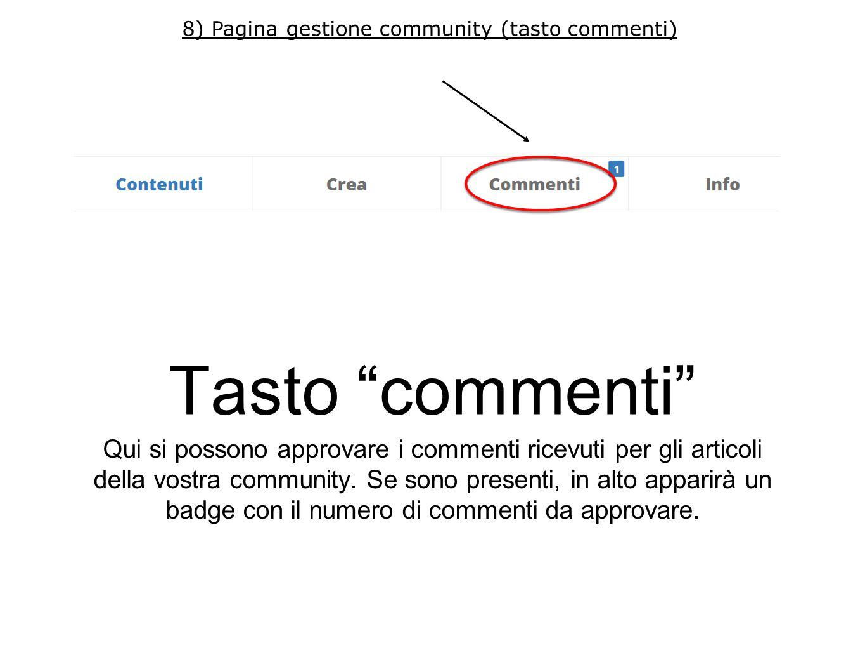 Tasto info Qui potete modificare nome, descrizione e logo della vostra community.