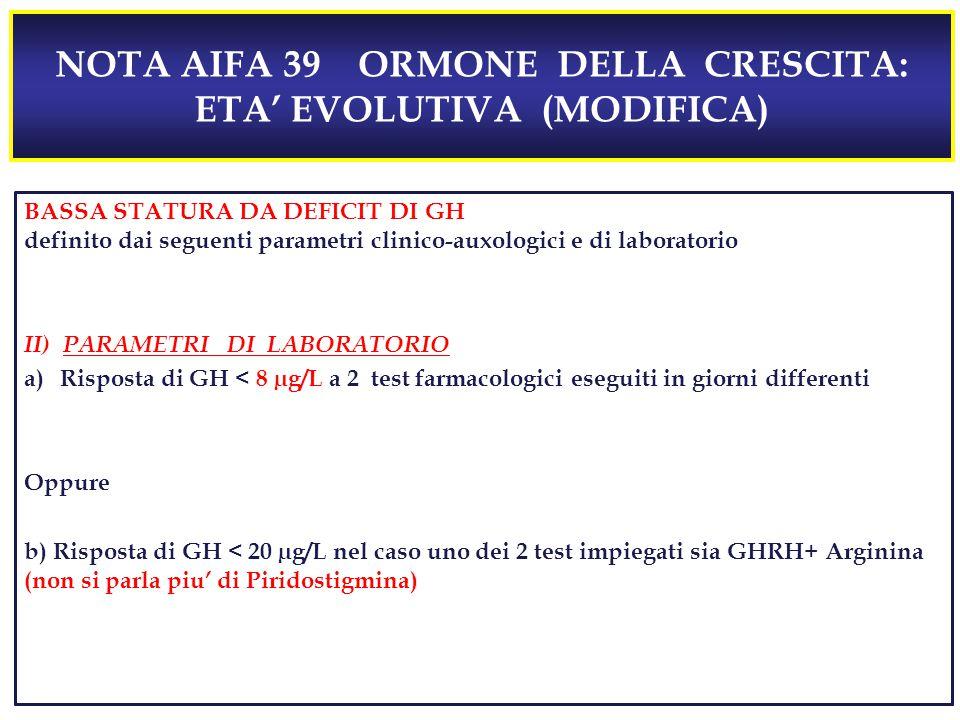 NOTA AIFA 39 ORMONE DELLA CRESCITA: ETA' EVOLUTIVA (MODIFICA) BASSA STATURA DA DEFICIT DI GH definito dai seguenti parametri clinico-auxologici e di laboratorio II) PARAMETRI DI LABORATORIO a)Risposta di GH 10 µg/L esclude la diagnosi di deficit di GH); Oppure b) Risposta di GH < 20 µg/L nel caso uno dei 2 test impiegati sia GHRH+ Arginina o GHRH + Piridostigmina BASSA STATURA DA DEFICIT DI GH definito dai seguenti parametri clinico-auxologici e di laboratorio II) PARAMETRI DI LABORATORIO a)Risposta di GH < 8 µg/L a 2 test farmacologici eseguiti in giorni differenti Oppure b) Risposta di GH < 20 µg/L nel caso uno dei 2 test impiegati sia GHRH+ Arginina (non si parla piu' di Piridostigmina)