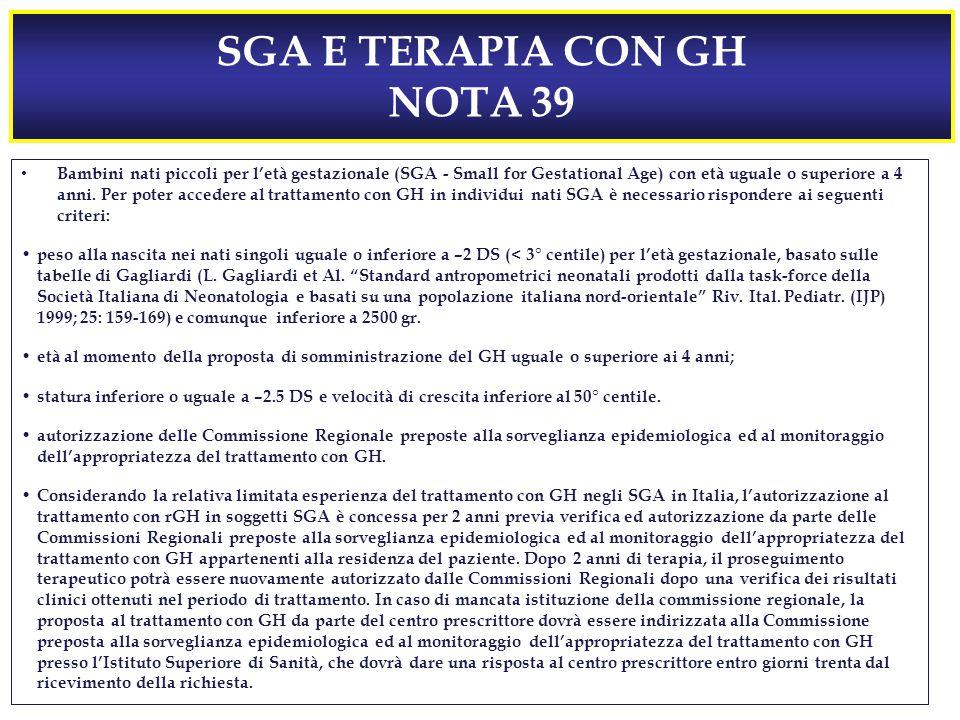 SGA E TERAPIA CON GH NOTA 39 Bambini nati piccoli per l'età gestazionale (SGA - Small for Gestational Age) con età uguale o superiore a 4 anni.
