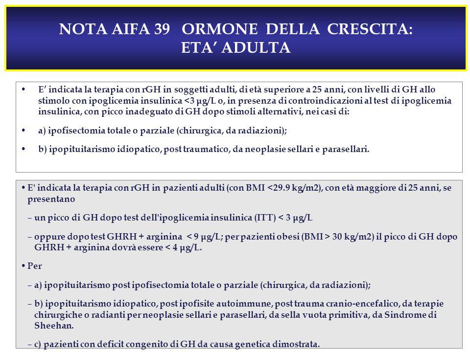 NOTA AIFA 39 ORMONE DELLA CRESCITA: ETA' ADULTA E' indicata la terapia con rGH in soggetti adulti, di età superiore a 25 anni, con livelli di GH allo stimolo con ipoglicemia insulinica <3 μg/L o, in presenza di controindicazioni al test di ipoglicemia insulinica, con picco inadeguato di GH dopo stimoli alternativi, nei casi di: a) ipofisectomia totale o parziale (chirurgica, da radiazioni); b) ipopituitarismo idiopatico, post traumatico, da neoplasie sellari e parasellari.
