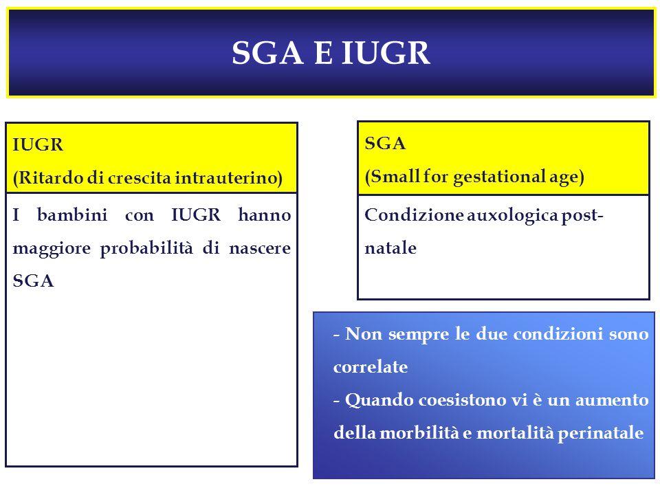 SGA E IUGR  Processo che determina una ridotta velocità di crescita fetale, con conseguente compromissione del potenziale di crescita  Diagnosi prenatale basata su misure effettuate durante l'esame ecografico Condizione auxologica post- natale IUGR (Ritardo di crescita intrauterino) SGA (Small for gestational age) I bambini con IUGR hanno maggiore probabilità di nascere SGA - Non sempre le due condizioni sono correlate - Quando coesistono vi è un aumento della morbilità e mortalità perinatale