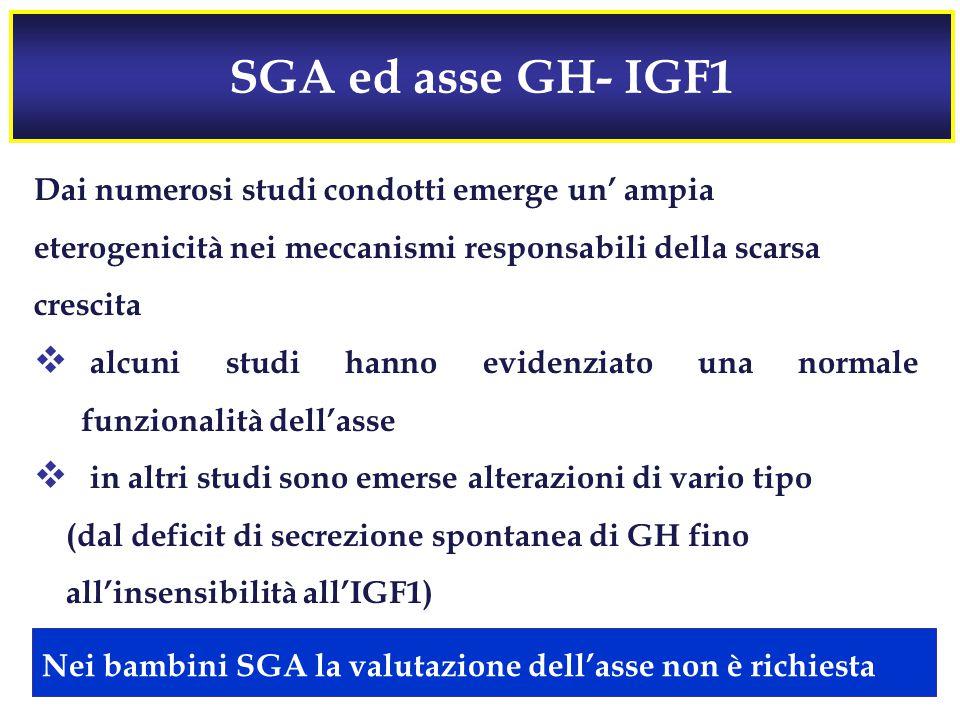 SGA ed asse GH- IGF1 Dai numerosi studi condotti emerge un' ampia eterogenicità nei meccanismi responsabili della scarsa crescita  alcuni studi hanno evidenziato una normale funzionalità dell'asse  in altri studi sono emerse alterazioni di vario tipo (dal deficit di secrezione spontanea di GH fino all'insensibilità all'IGF1) Nei bambini SGA la valutazione dell'asse non è richiesta