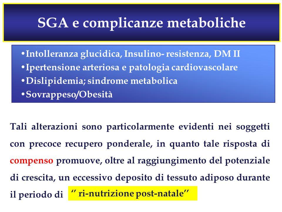 SGA e complicanze metaboliche Tali alterazioni sono particolarmente evidenti nei soggetti con precoce recupero ponderale, in quanto tale risposta di compenso promuove, oltre al raggiungimento del potenziale di crescita, un eccessivo deposito di tessuto adiposo durante il periodo di Intolleranza glucidica, Insulino- resistenza, DM II Ipertensione arteriosa e patologia cardiovascolare Dislipidemia; sindrome metabolica Sovrappeso/Obesità '' ri-nutrizione post-natale''