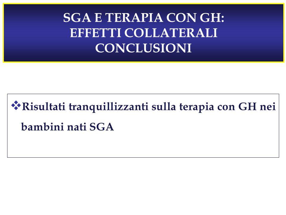 SGA E TERAPIA CON GH: EFFETTI COLLATERALI CONCLUSIONI  Risultati tranquillizzanti sulla terapia con GH nei bambini nati SGA