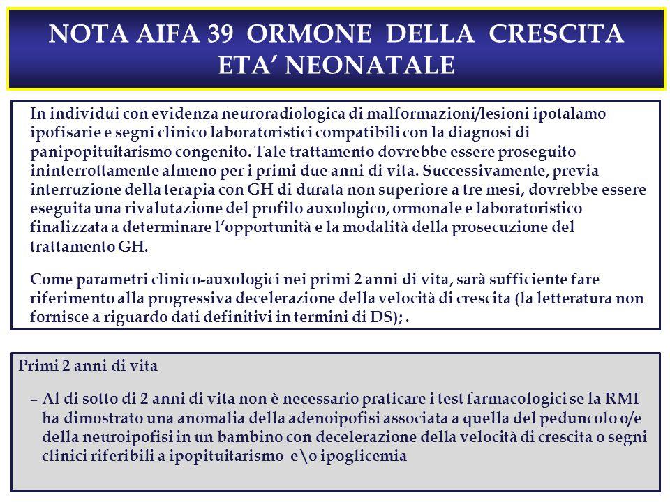 NOTA AIFA 39 ORMONE DELLA CRESCITA ETA' NEONATALE In individui con evidenza neuroradiologica di malformazioni/lesioni ipotalamo ipofisarie e segni clinico laboratoristici compatibili con la diagnosi di panipopituitarismo congenito.