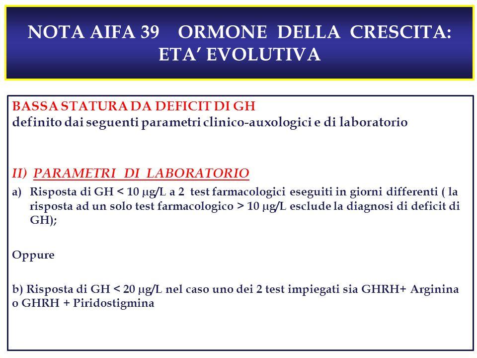 NOTA AIFA 39 ORMONE DELLA CRESCITA: ETA' EVOLUTIVA BASSA STATURA DA DEFICIT DI GH definito dai seguenti parametri clinico-auxologici e di laboratorio II) PARAMETRI DI LABORATORIO a)Risposta di GH 10 µg/L esclude la diagnosi di deficit di GH); Oppure b) Risposta di GH < 20 µg/L nel caso uno dei 2 test impiegati sia GHRH+ Arginina o GHRH + Piridostigmina
