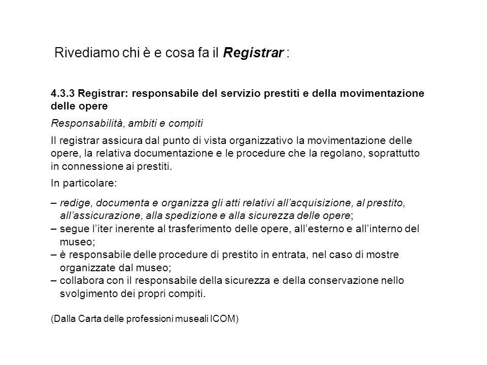 Rivediamo chi è e cosa fa il Registrar : 4.3.3 Registrar: responsabile del servizio prestiti e della movimentazione delle opere Responsabilità, ambiti