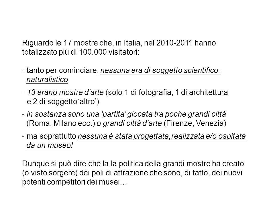 Riguardo le 17 mostre che, in Italia, nel 2010-2011 hanno totalizzato più di 100.000 visitatori: - tanto per cominciare, nessuna era di soggetto scien