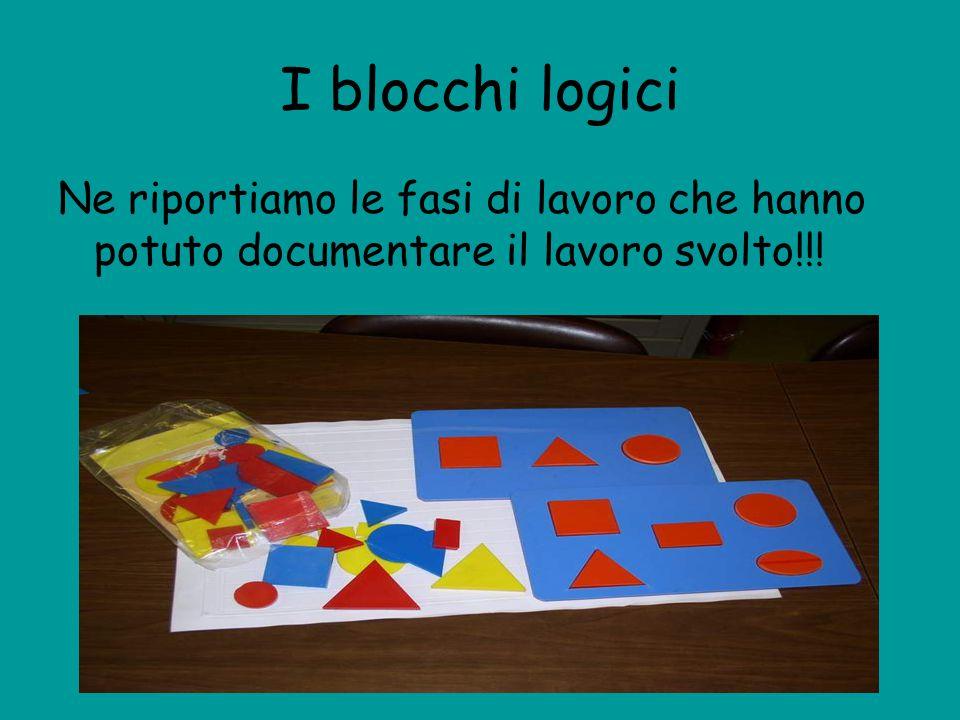I blocchi logici Ne riportiamo le fasi di lavoro che hanno potuto documentare il lavoro svolto!!!