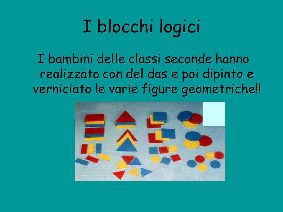 I blocchi logici I bambini delle classi seconde hanno realizzato con del das e poi dipinto e verniciato le varie figure geometriche!!