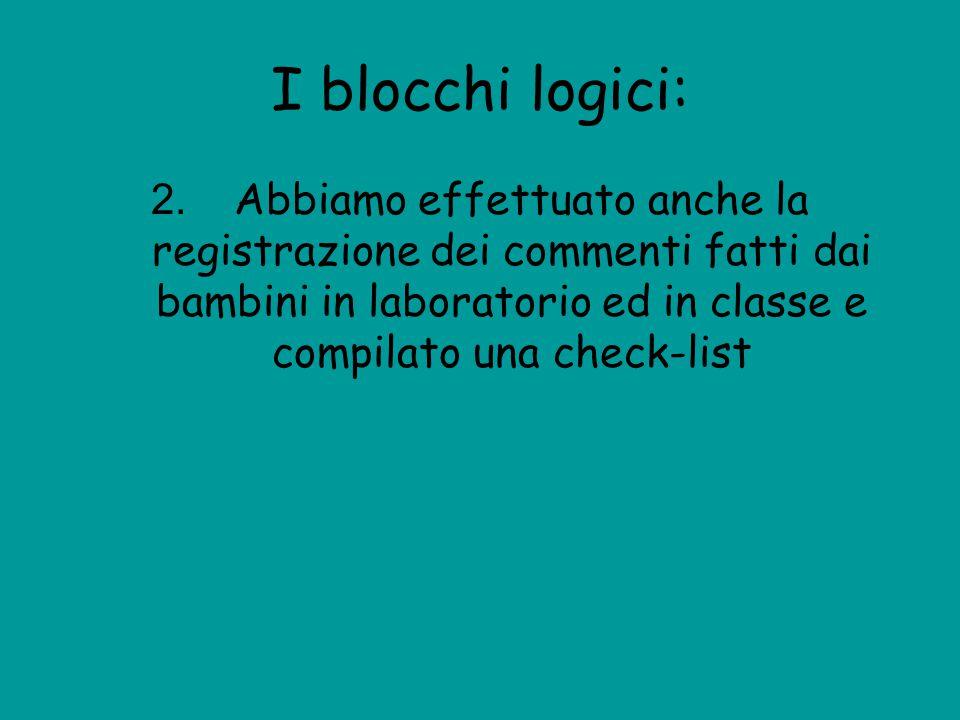 I blocchi logici: 2. Abbiamo effettuato anche la registrazione dei commenti fatti dai bambini in laboratorio ed in classe e compilato una check-list
