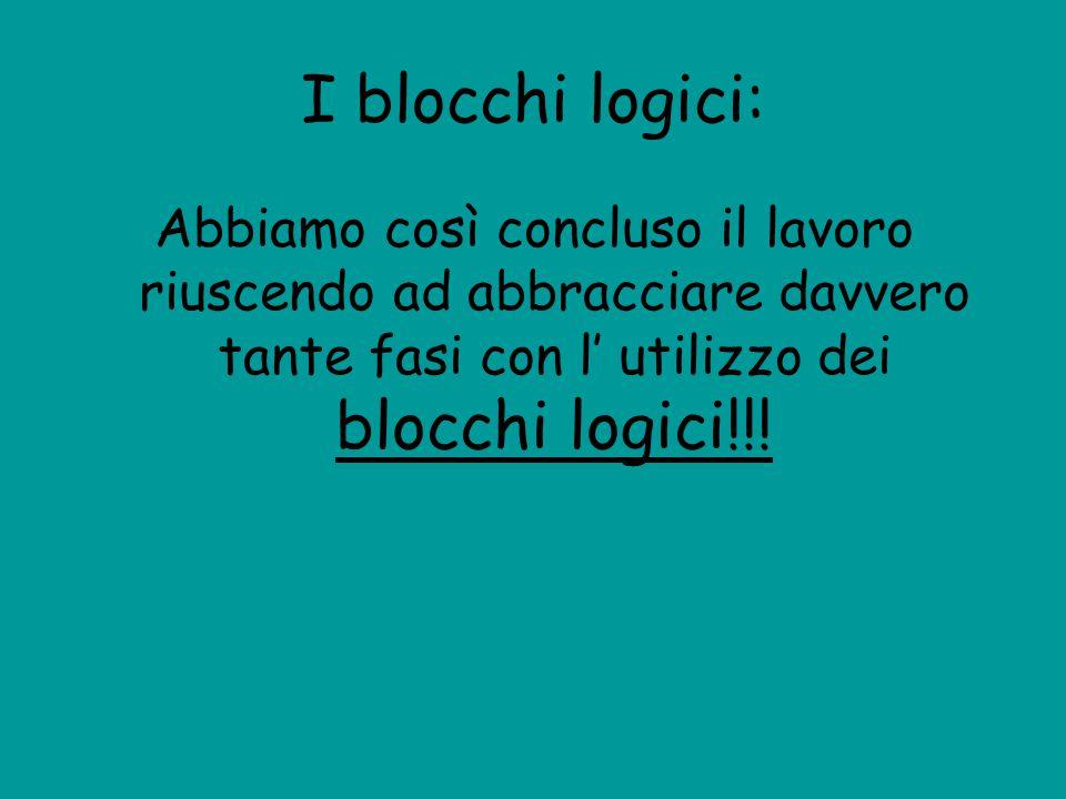 I blocchi logici: Abbiamo così concluso il lavoro riuscendo ad abbracciare davvero tante fasi con l' utilizzo dei blocchi logici!!!