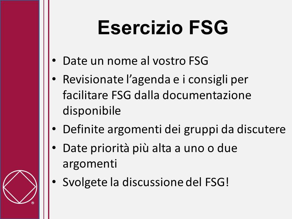  Esercizio FSG Date un nome al vostro FSG Revisionate l'agenda e i consigli per facilitare FSG dalla documentazione disponibile Definite argomenti dei gruppi da discutere Date priorità più alta a uno o due argomenti Svolgete la discussione del FSG!