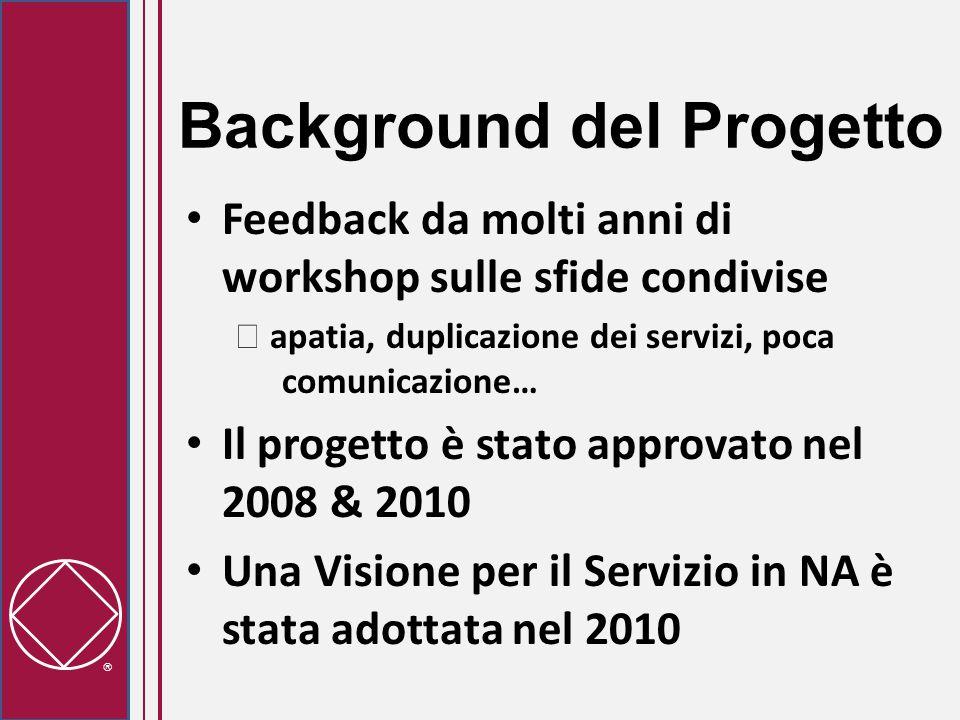  Background del Progetto Feedback da molti anni di workshop sulle sfide condivise  apatia, duplicazione dei servizi, poca comunicazione… Il progetto è stato approvato nel 2008 & 2010 Una Visione per il Servizio in NA è stata adottata nel 2010