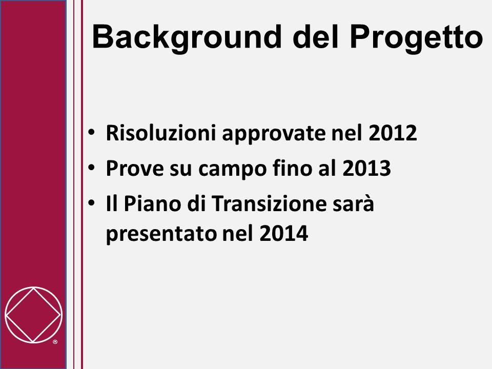  Background del Progetto Risoluzioni approvate nel 2012 Prove su campo fino al 2013 Il Piano di Transizione sarà presentato nel 2014