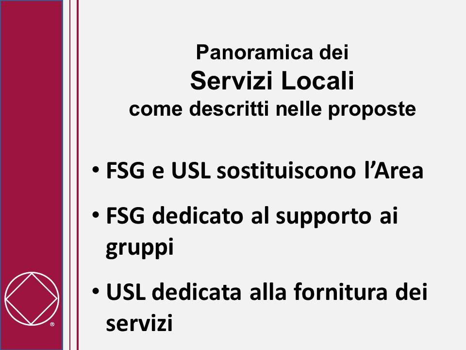  Panoramica dei Servizi Locali come descritti nelle proposte FSG e USL sostituiscono l'Area FSG dedicato al supporto ai gruppi USL dedicata alla fornitura dei servizi