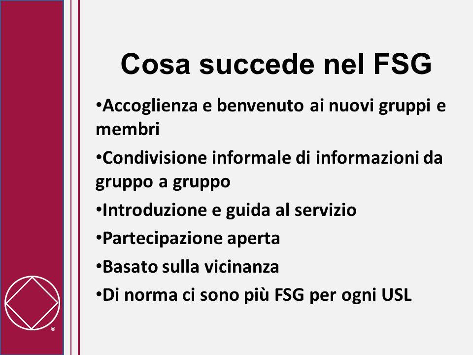  Cosa succede nel FSG Accoglienza e benvenuto ai nuovi gruppi e membri Condivisione informale di informazioni da gruppo a gruppo Introduzione e guida al servizio Partecipazione aperta Basato sulla vicinanza Di norma ci sono più FSG per ogni USL