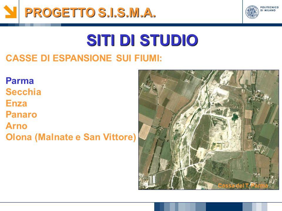 SITI DI STUDIO CASSE DI ESPANSIONE SUI FIUMI: Parma Secchia Enza Panaro Arno Olona (Malnate e San Vittore) Cassa del T. Parma PROGETTO S.I.S.M.A.