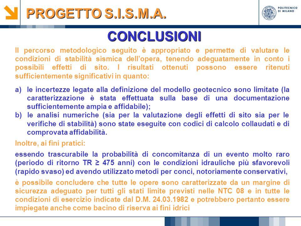 CONCLUSIONI PROGETTO S.I.S.M.A. Il percorso metodologico seguito è appropriato e permette di valutare le condizioni di stabilità sismica dell'opera, t