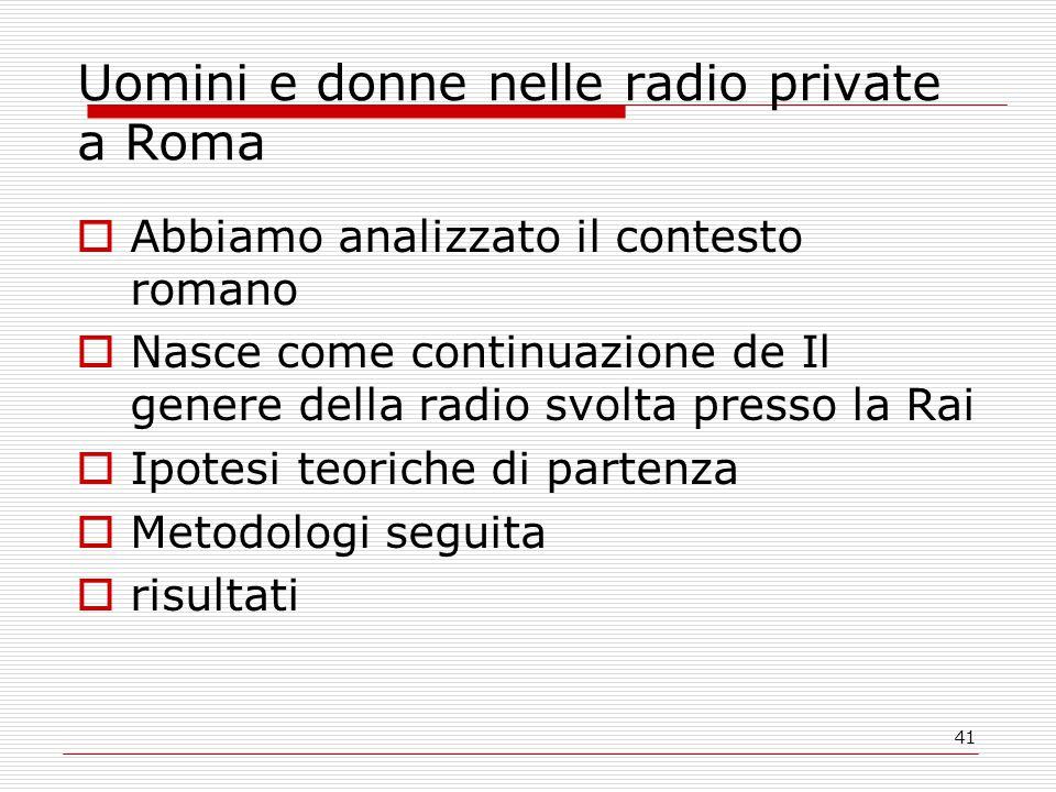 41 Uomini e donne nelle radio private a Roma  Abbiamo analizzato il contesto romano  Nasce come continuazione de Il genere della radio svolta presso la Rai  Ipotesi teoriche di partenza  Metodologi seguita  risultati