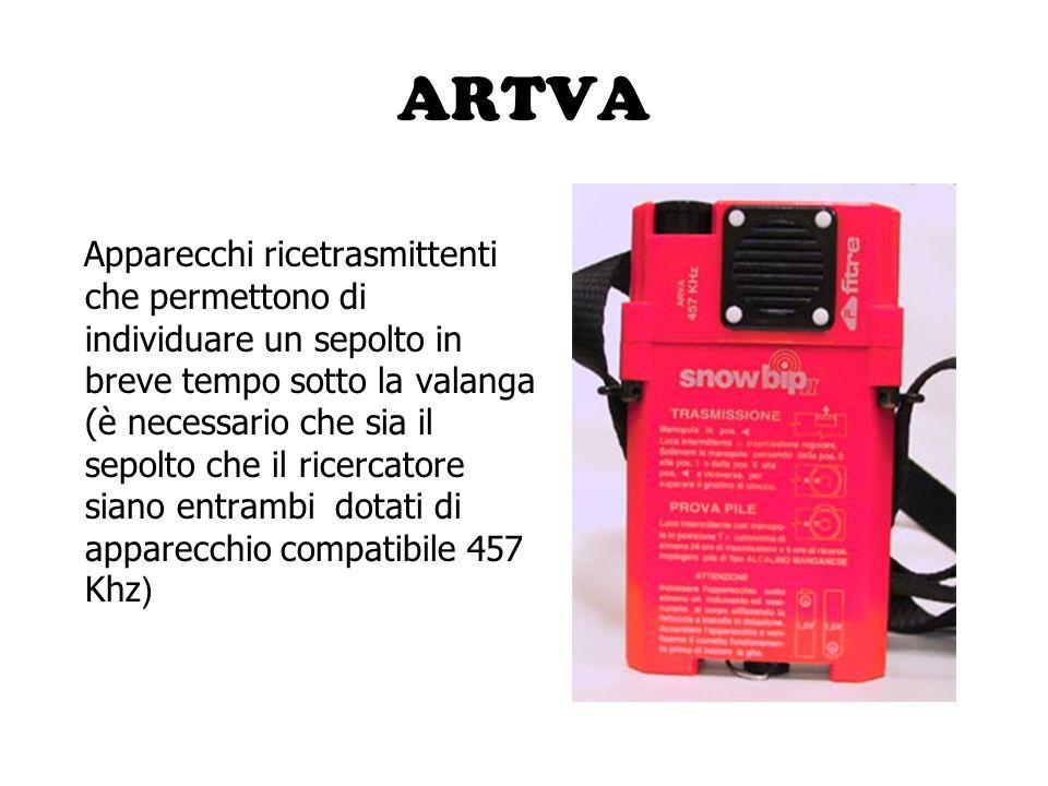 ARTVA Apparecchi ricetrasmittenti che permettono di individuare un sepolto in breve tempo sotto la valanga (è necessario che sia il sepolto che il ric