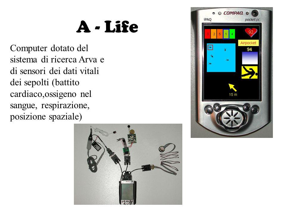 A - Life Computer dotato del sistema di ricerca Arva e di sensori dei dati vitali dei sepolti (battito cardiaco,ossigeno nel sangue, respirazione, pos