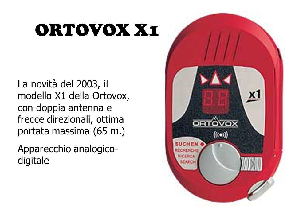 ORTOVOX X1 La novità del 2003, il modello X1 della Ortovox, con doppia antenna e frecce direzionali, ottima portata massima (65 m.) Apparecchio analog