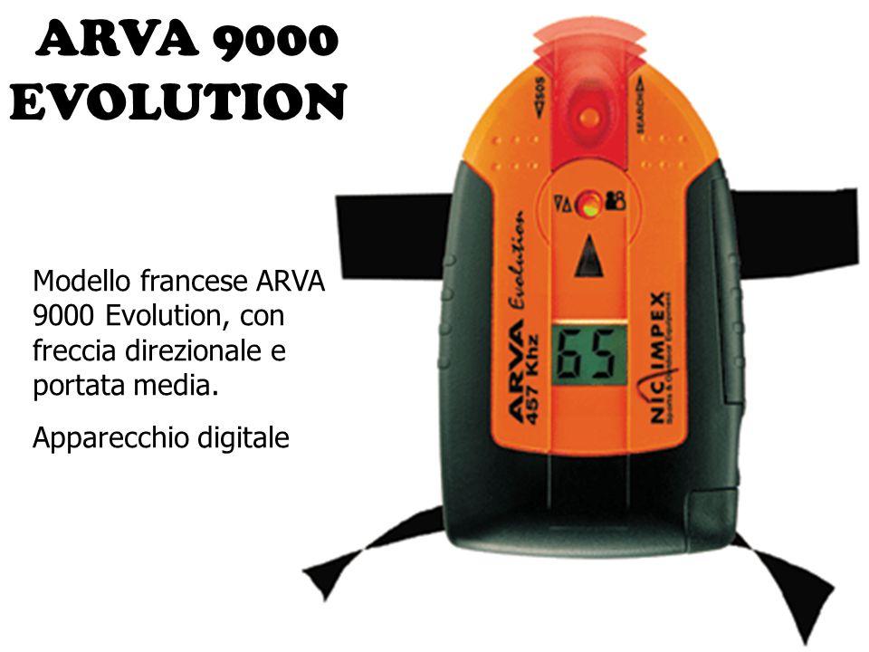 ARVA 9000 EVOLUTION Modello francese ARVA 9000 Evolution, con freccia direzionale e portata media. Apparecchio digitale