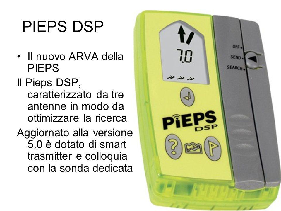 PIEPS DSP Il nuovo ARVA della PIEPS Il Pieps DSP, caratterizzato da tre antenne in modo da ottimizzare la ricerca Aggiornato alla versione 5.0 è dotat