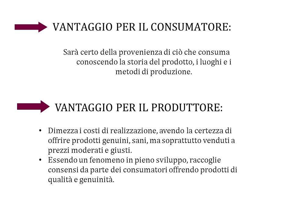 VANTAGGIO PER IL CONSUMATORE: Sarà certo della provenienza di ciò che consuma conoscendo la storia del prodotto, i luoghi e i metodi di produzione. VA