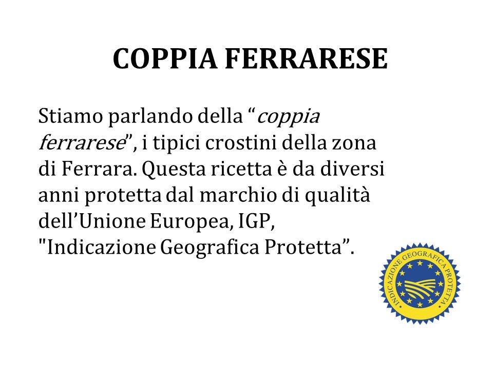"""COPPIA FERRARESE Stiamo parlando della """"coppia ferrarese"""", i tipici crostini della zona di Ferrara. Questa ricetta è da diversi anni protetta dal marc"""